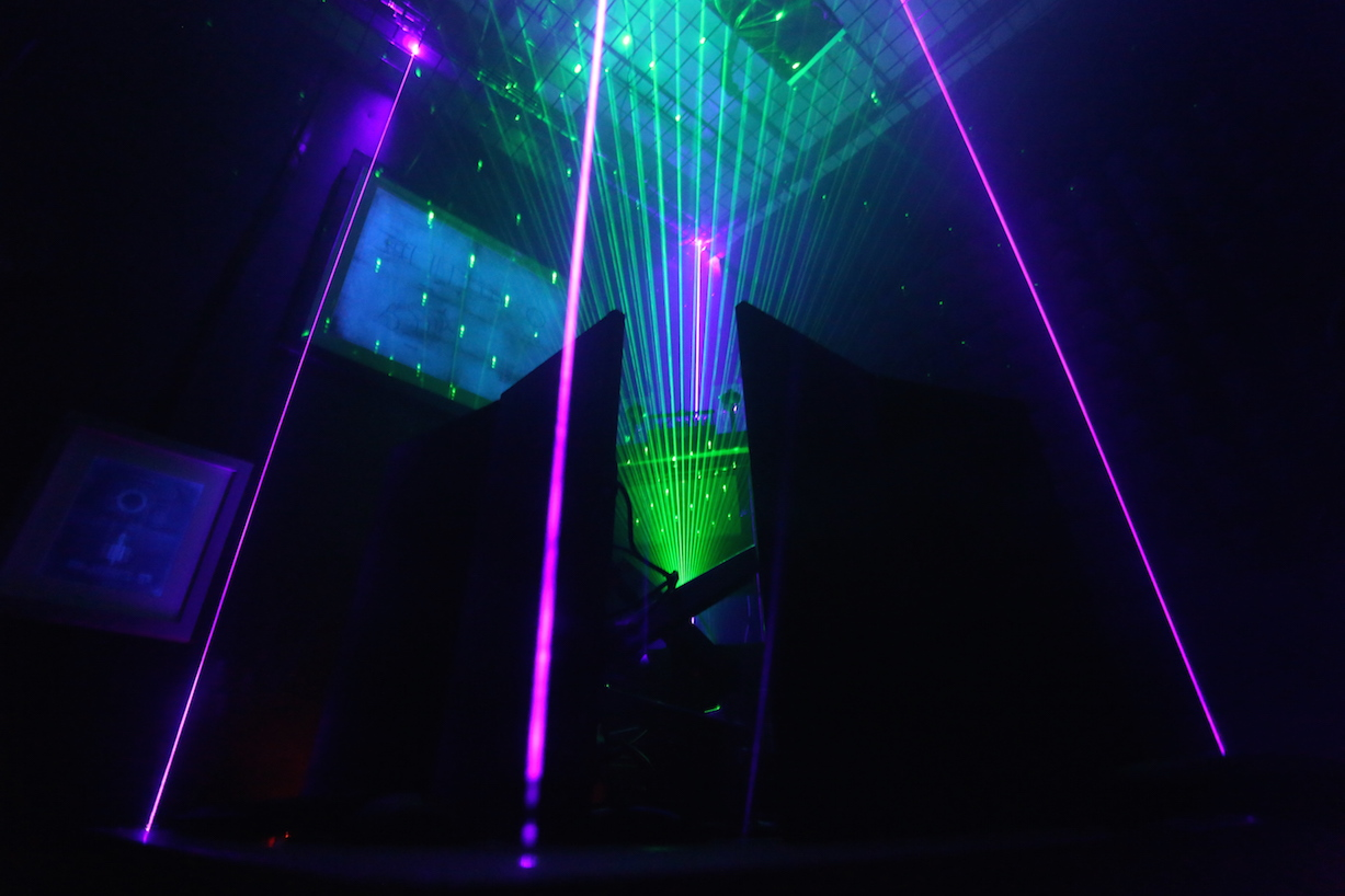 Purple and green lasers